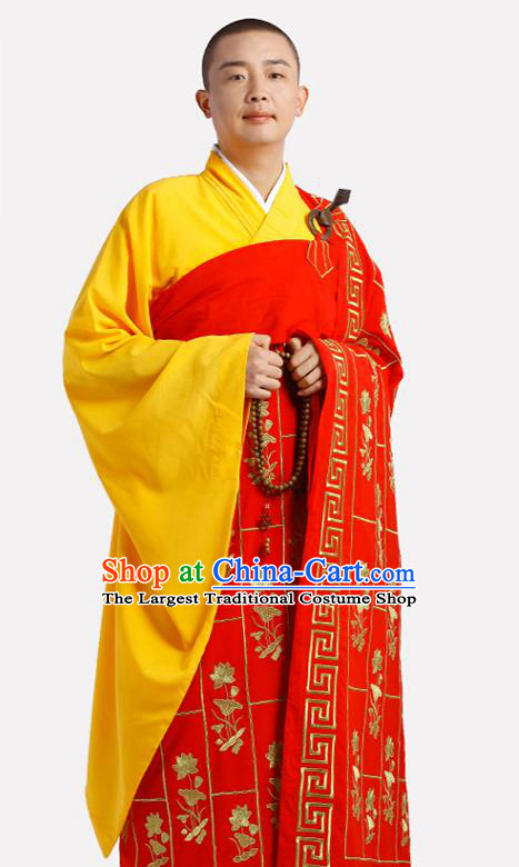 Chinese Traditional Monk Lotus Pattern Red Kasaya Meditation Vestment Garment Buddhist Cassock Costume for Men