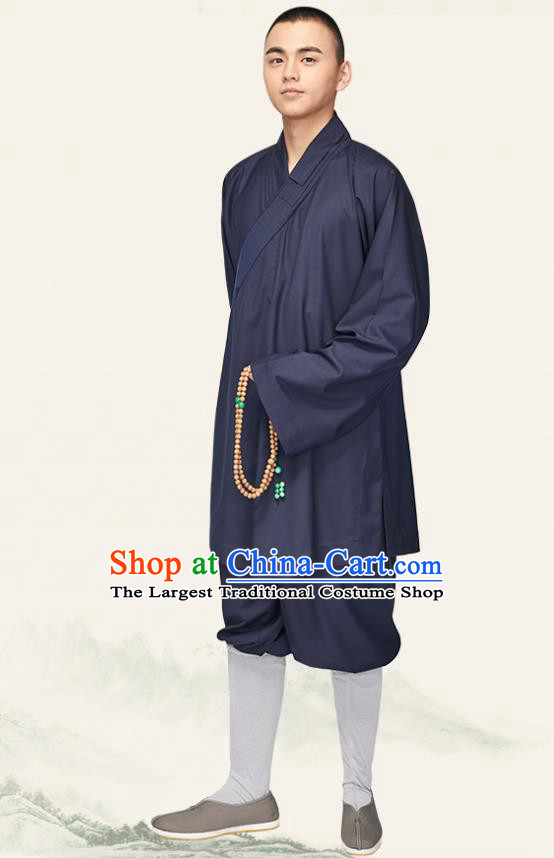 Chinese Traditional Monk Navy Flax Short Gown and Pants Meditation Garment Buddhist Bonze Costume for Men