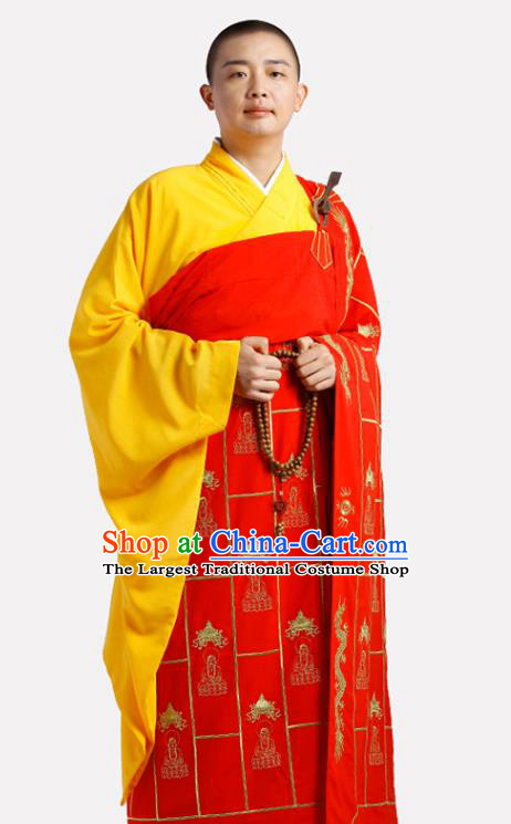 Chinese Traditional Monk Buddhist Statues Pattern Red Kasaya Meditation Vestment Garment Buddhist Cassock Costume for Men