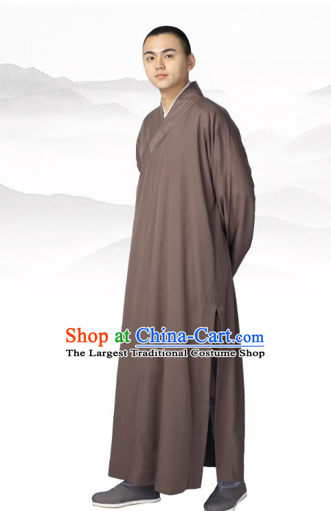 Chinese Traditional Buddhist Bonze Costume Meditation Garment Monk Brown Robe Frock for Men