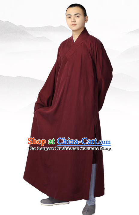 Chinese Traditional Buddhist Bonze Costume Meditation Garment Monk Wine Red Robe Frock for Men