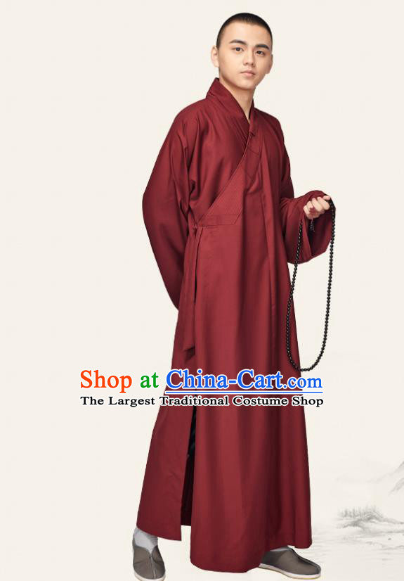 Chinese Traditional Buddhist Bonze Costume Meditation Garment Monk Purplish Red Robe Frock for Men