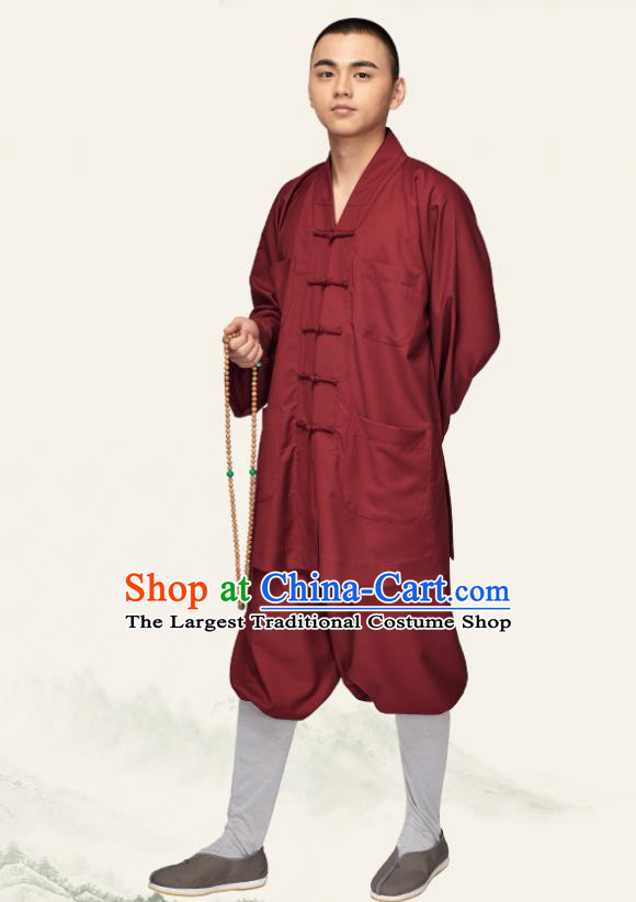 Chinese Traditional Buddhist Bonze Purplish Red Costume Meditation Garment Monk Gown and Pants for Men