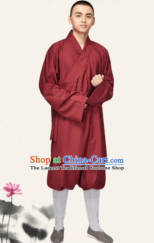 Chinese Traditional Monk Purplish Red Gown and Pants Buddhist Bonze Costume Meditation Garment for Men