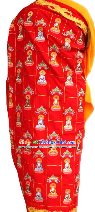 Chinese Traditional Monk Red Cassock Buddhist Bonze Costume Meditation Garment for Men