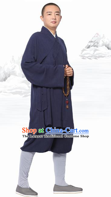 Chinese Traditional Monk Navy Short Gown and Pants Meditation Garment Buddhist Costume for Men
