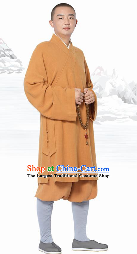 Chinese Traditional Monk Orange Short Gown and Pants Meditation Garment Buddhist Costume for Men