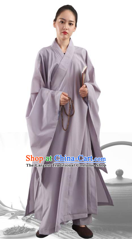 Chinese Traditional Lay Buddhist Grey Robe Costume Meditation Garment Dharma Assembly Frock for Women