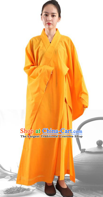 Chinese Traditional Lay Buddhist Yellow Robe Costume Meditation Garment Dharma Assembly Frock for Women