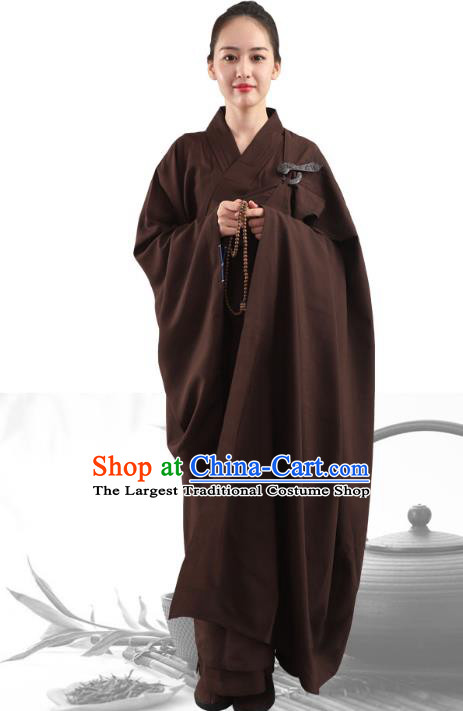 Chinese Traditional Lay Buddhist Brown Robe Costume Meditation Garment Dharma Assembly Buddhist Nun Frock for Women