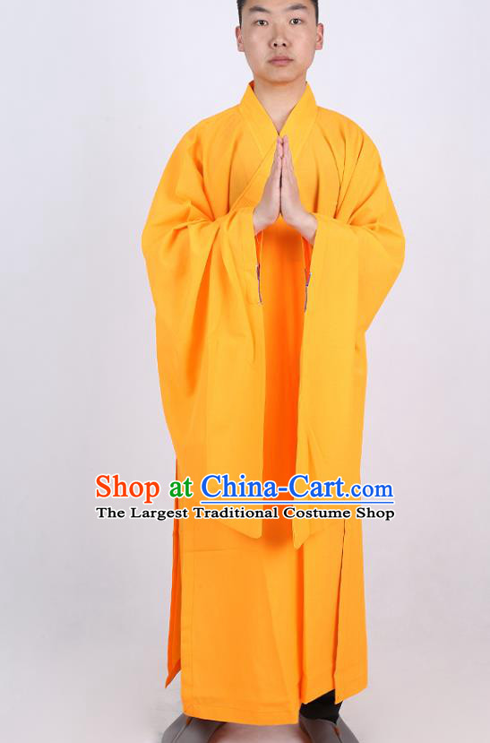 Chinese Traditional Buddhist Monk Yellow Robe Costume Meditation Garment Dharma Assembly Bonze Frock Gown for Men