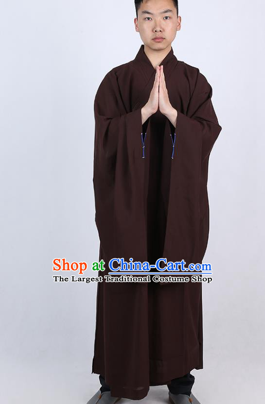 Chinese Traditional Buddhist Monk Brown Robe Costume Meditation Garment Dharma Assembly Bonze Frock Gown for Men