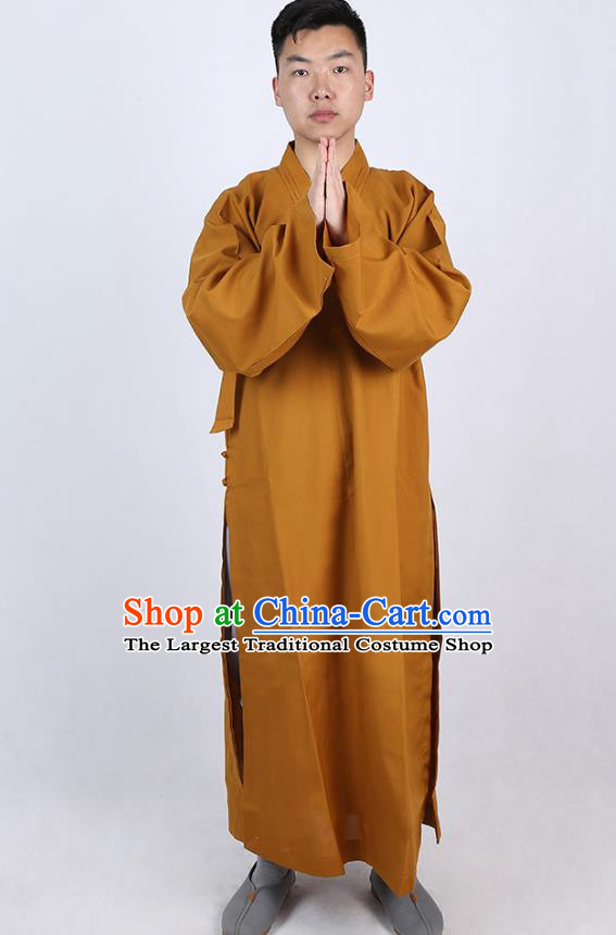 Chinese Traditional Buddhist Monk Khaki Robe Costume Meditation Garment Dharma Assembly Bonze Frock Gown for Men