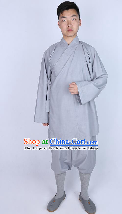 Chinese Traditional Buddhist Monk Grey Shirt and Pants Costume Meditation Garment Dharma Assembly Bonze Clothing for Men