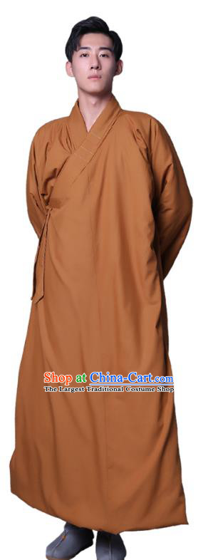 Chinese Traditional Buddhist Monk Costume Meditation Garment Winter Bonze Clothing Ginger Cotton Wadded Robe for Men