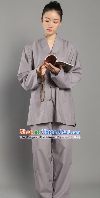 Chinese Lay Buddhist Dress Costume Traditional Meditation Garment Clothing Grey Plated Buttons Blouse and Pants for Women