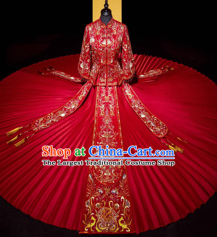 Top Grade Chinese Traditional Wedding Costumes Ancient Bride Red Beads Tassel Xiuhe Suit Toast Dress for Women