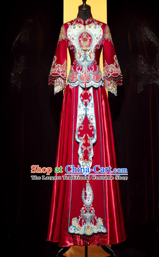 Top Grade Chinese Traditional Wedding Embroidered Costumes Ancient Bride Xiuhe Suit Toast Red Beads Tassel Dress for Women