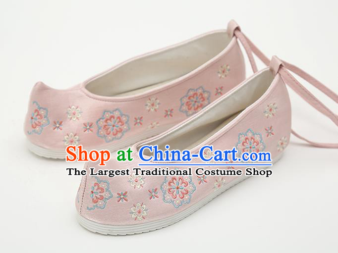 Chinese Handmade Pink Embroidered Shoes Traditional Ming Dynasty Female Bow Shoes Hanfu Shoes Ancient Princess Shoes