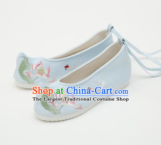 Chinese Handmade Blue Embroidered Shoes Traditional Ming Dynasty Female Bow Shoes Hanfu Shoes Ancient Princess Shoes