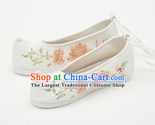 Chinese Handmade White Embroidered Shoes Traditional Ming Dynasty Female Bow Shoes Hanfu Shoes Ancient Princess Shoes