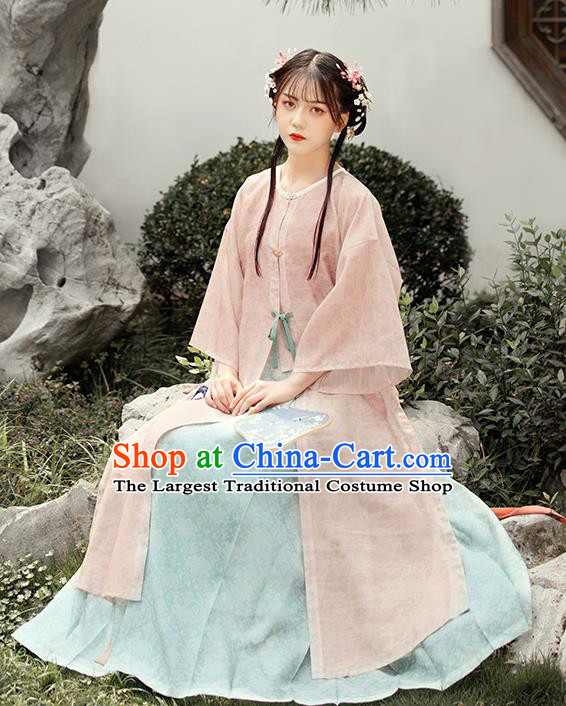 Chinese Ancient Ming Dynasty Young Female Hanfu Dress Traditional Garment Nobility Lady Historical Costumes Complete Set