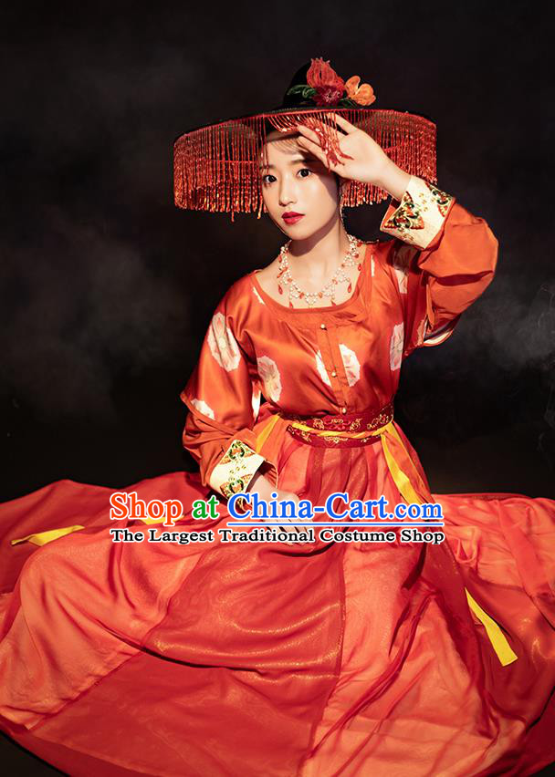 Chinese Ancient Tang Dynasty Young Lady Red Hanfu Dress Traditional Garment Nobility Female Historical Costumes for Women