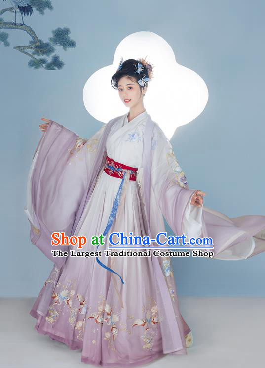 Chinese Ancient Jin Dynasty Court Female Lilac Hanfu Dress Traditional Imperial Consort Historical Costumes Garment Complete Set