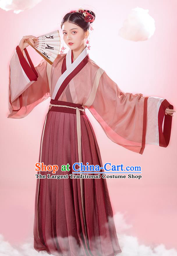 Chinese Ancient Young Female Hanfu Dress Traditional Garment Jin Dynasty Palace Princess Historical Costumes Complete Set