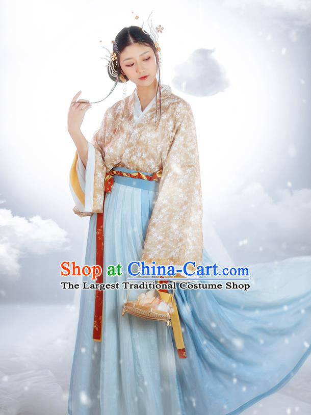 Chinese Ancient Flower Fairy Hanfu Dress Traditional Garment Jin Dynasty Court Lady Historical Costumes Complete Set for Women