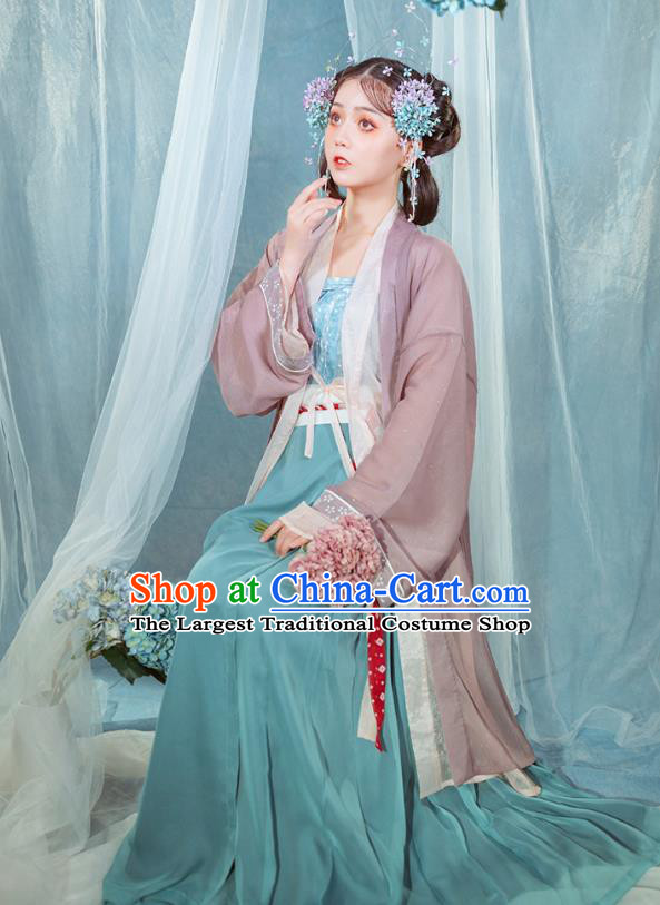Chinese Ancient Village Girl Hanfu Dress Traditional Garment Song Dynasty Young Lady Historical Costumes Complete Set