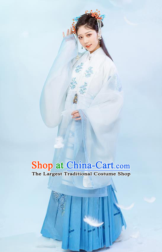 Chinese Ancient Nobility Female Blue Hanfu Dress Traditional Garment Ming Dynasty Patrician Lady Historical Costumes for Rich Woman