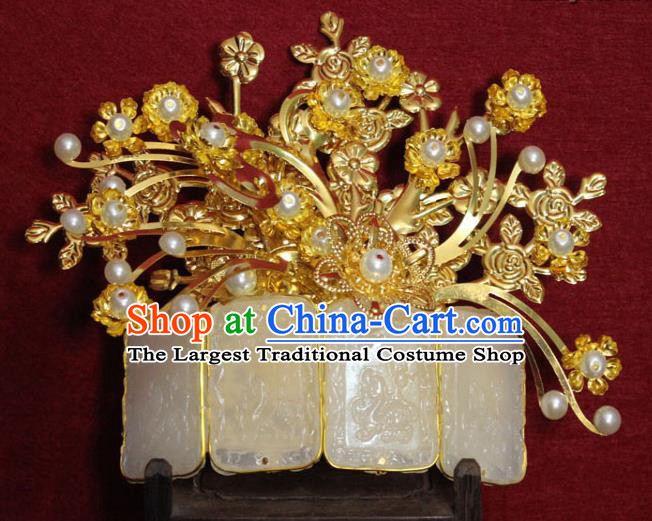 Traditional Chinese Handmade Jade Hair Crown Ancient Princess Hair Accessories Golden Hairpin Hair Comb for Women
