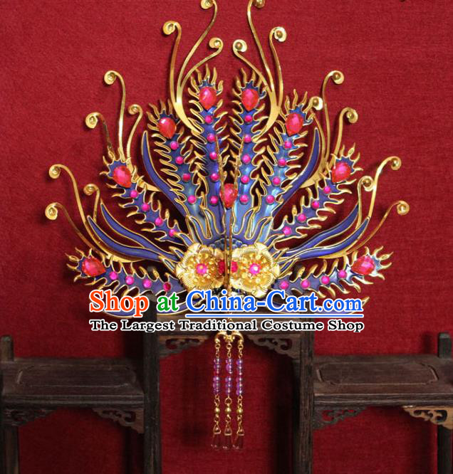 Traditional Chinese Handmade Cloisonne Phoenix Hairpins Ancient Queen Hair Accessories Tassel Hair Crown for Women