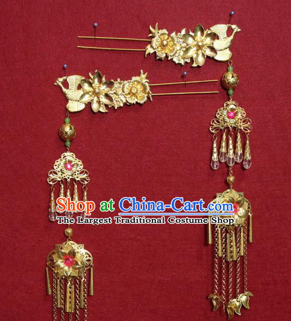 Traditional Chinese Handmade Golden Flowers Hairpins Ancient Queen Hair Accessories Tassel Hair Clip for Women