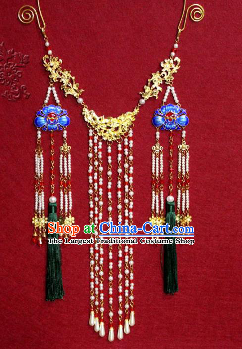 Traditional Chinese Ancient Princess Pearls Tassel Necklace Handmade Jewelry Accessories Cloisonne Necklet for Women