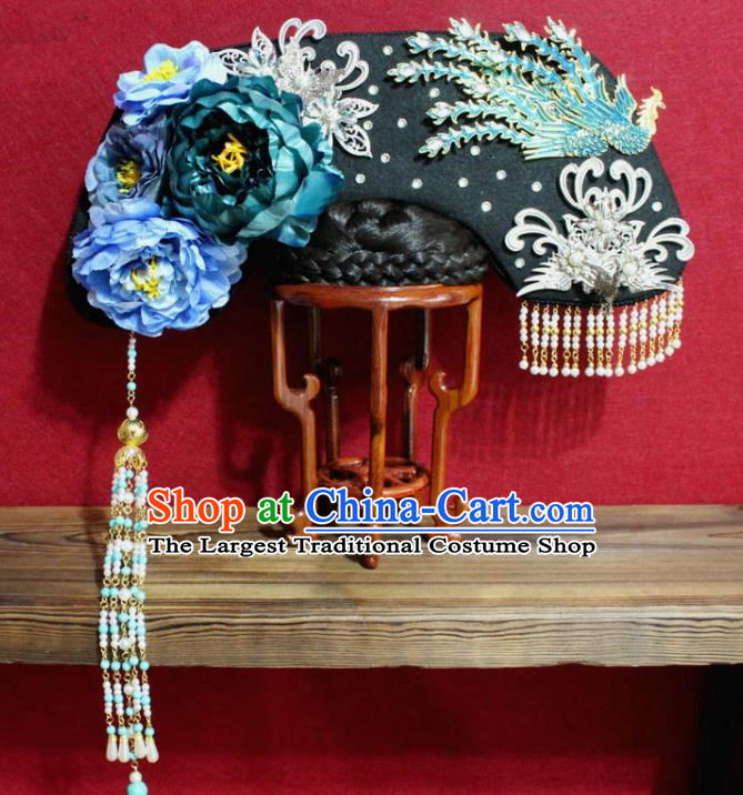 Chinese Ancient Qing Dynasty Queen Hair Jewelry Traditional Handmade Hairpins Hair Accessories Blue Peony Phoenix Coronet Complete Set