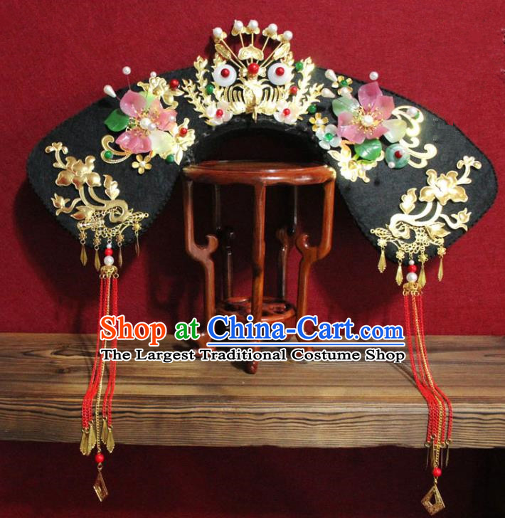 Chinese Ancient Qing Dynasty Queen Hair Jewelry Traditional Handmade Hairpins Hair Accessories Red Tassel Phoenix Coronet Complete Set