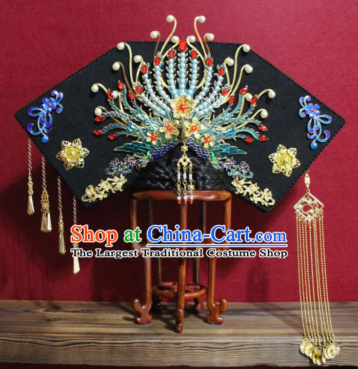 Chinese Ancient Qing Dynasty Queen Hair Jewelry Traditional Handmade Hairpins Hair Accessories Golden Tassel Phoenix Coronet Complete Set