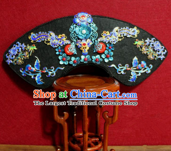 Chinese Ancient Qing Dynasty Queen Hair Jewelry Traditional Handmade Hairpins Hair Accessories Cloisonne Phoenix Coronet Complete Set