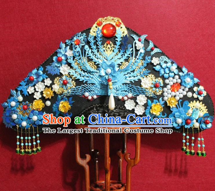 Chinese Ancient Qing Dynasty Queen Hair Jewelry Traditional Handmade Hairpins Hair Accessories Blueing Flowers Phoenix Coronet Complete Set