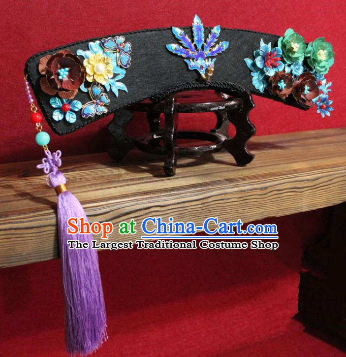 Chinese Ancient Imperial Consort Purple Tassel Cloisonne Phoenix Coronet Hair Jewelry Traditional Handmade Hairpins Qing Dynasty Queen Hair Accessories Complete Set