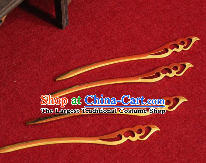 Traditional Chinese Handmade Golden Hair Clip Ancient Queen Hairpin Hair Accessories for Women