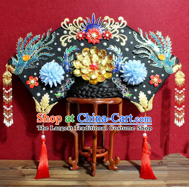 Chinese Ancient Imperial Consort Blueing Phoenix Coronet Hair Jewelry Traditional Handmade Hairpins Qing Dynasty Queen Hair Accessories Complete Set