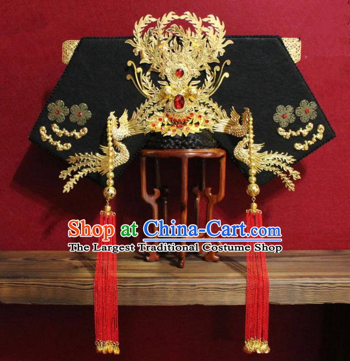 Chinese Ancient Imperial Consort Golden Phoenix Coronet Hair Jewelry Traditional Handmade Hairpins Qing Dynasty Queen Hair Accessories Complete Set