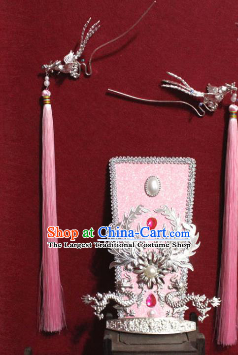 Traditional Chinese Ancient Female Official Dragon Hair Crown Handmade Hair Jewelry Taoist Nun Hairpins Pink Hair Accessories for Women