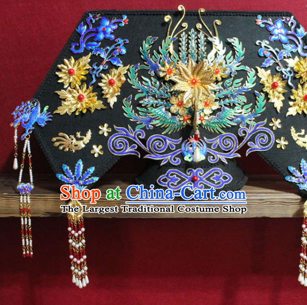 Chinese Ancient Imperial Consort Cloisonne Phoenix Coronet Hair Jewelry Traditional Handmade Hairpins Qing Dynasty Queen Hair Accessories Complete Set