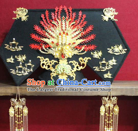 Chinese Ancient Imperial Consort Pearls Golden Phoenix Coronet Hair Jewelry Traditional Handmade Hairpins Qing Dynasty Queen Hair Accessories Complete Set