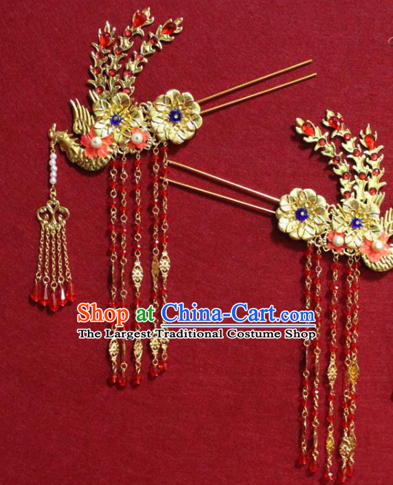 Traditional Chinese Handmade Golden Phoenix Tassel Hair Clip Ancient Queen Hairpin Hair Accessories for Women