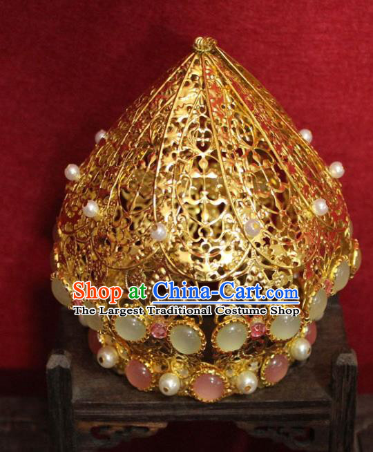 Traditional Chinese Handmade Chalcedony Hair Crown Ancient Queen Golden Phoenix Coronet Gems Hair Accessories for Women